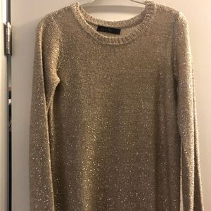The Limited small sparkle tan/ gold sweater